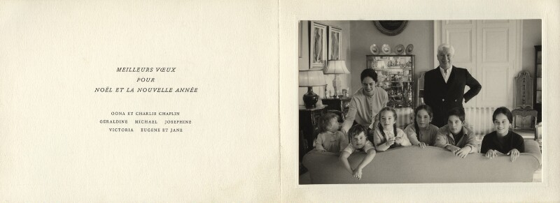 Charlie Chaplin with his family, by Yves Debraine, 1950s - NPG x34818 - © reserved; collection National Portrait Gallery, London