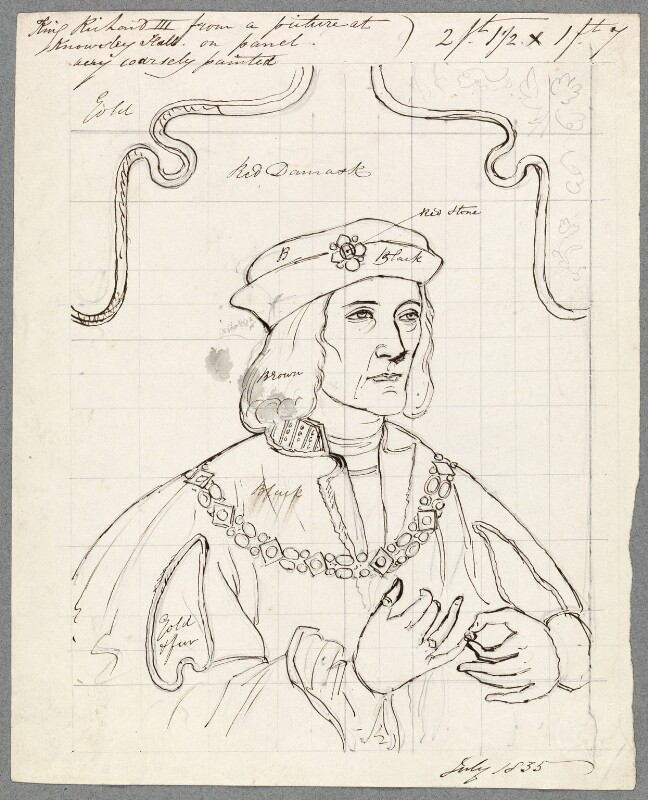 King Richard III, probably by William Derby, after  Unknown artist, July 1835 (late 15th century) - NPG D23064 - © National Portrait Gallery, London