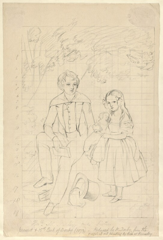 Edward Henry Stanley, 15th Earl of Derby and Lady Emma Charlotte Talbot (née Stanley) as children, by William Derby, 1840s (before 1847) - NPG D23132 - © National Portrait Gallery, London