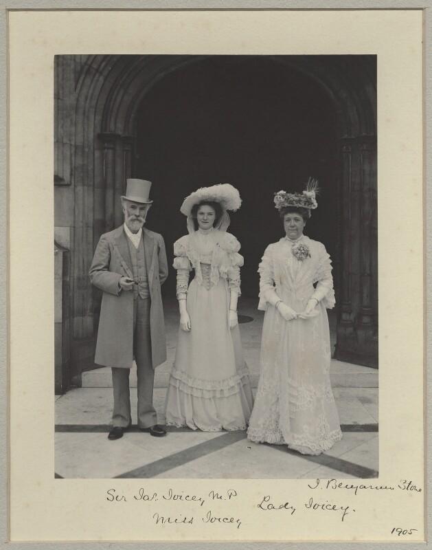 James Joicey, 1st Baron Joicey; Hon. Marguerite de Fontaine Drever Joicey; Marguerite Smyles (née Drever), Lady Joicey, by Sir (John) Benjamin Stone, 5 July 1905 - NPG x29017 - © National Portrait Gallery, London