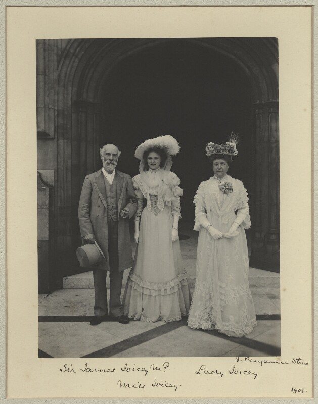 James Joicey, 1st Baron Joicey; Hon. Marguerite de Fontaine Drever Joicey; Marguerite Smyles (née Drever), Lady Joicey, by Sir (John) Benjamin Stone, 5 July 1905 - NPG x29018 - © National Portrait Gallery, London