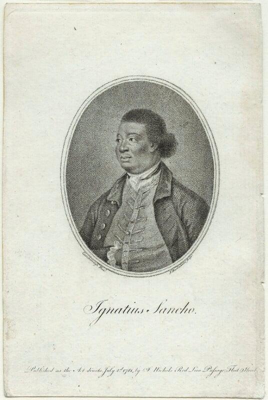 Ignatius Sancho, by Francesco Bartolozzi, published by  John Bowyer Nichols, after  Thomas Gainsborough, published 2 July 1781 (1768) - NPG D23441 - © National Portrait Gallery, London