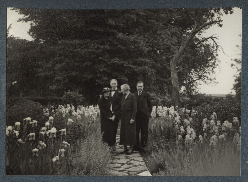 Edith Olivier; Philip Edward Morrell; (Carl) Tancred Borenius and an unknown woman, by Lady Ottoline Morrell, 1936 - NPG Ax144017 - © National Portrait Gallery, London