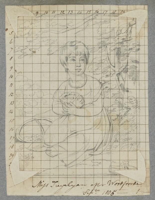 Emma Trevelyan (later Mrs Wyndham), by Henry Bone, after  Samuel Woodforde, September 1805 - NPG D17339 - © National Portrait Gallery, London