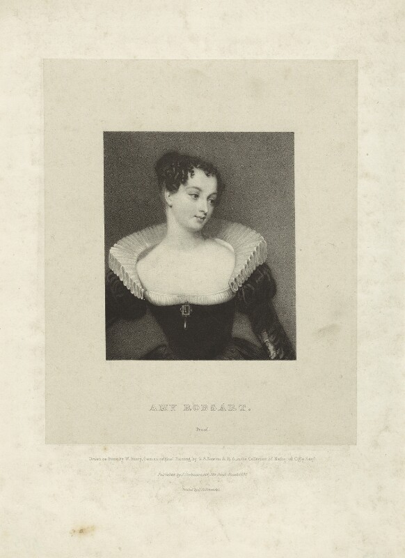 Fictitious portrait called Amy Robsart (Amy Dudley (née Robsart), Lady Dudley), by William Sharp, printed by  Charles Joseph Hullmandel, published by  Joseph Dickinson, after  Gilbert Stuart Newton, published 1880 - NPG D23444 - © National Portrait Gallery, London