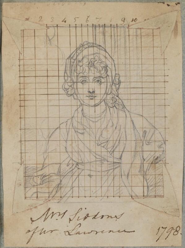 Sarah Siddons (née Kemble), by Henry Bone, after  Sir Thomas Lawrence, 1798 (1798) - NPG D17562 - © National Portrait Gallery, London