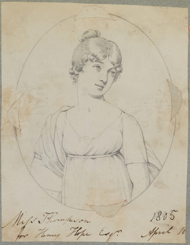 Miss Thompson, by Henry Bone, after  Unknown artist, April 1805 - NPG D17593 - © National Portrait Gallery, London