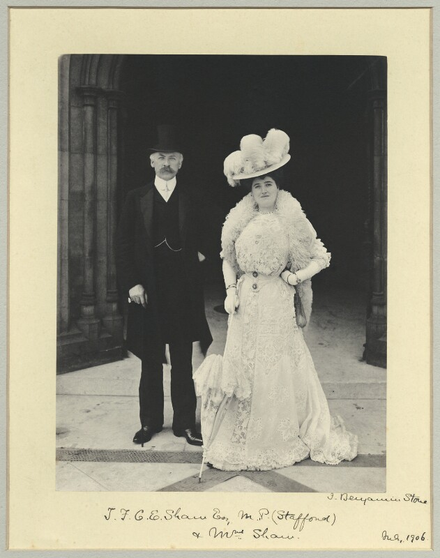 Sir (Theodore Frederick) Charles Edward Shaw, 1st Bt; Emily White (née Bursill), Lady Shaw, by Benjamin Stone, July 1906 - NPG x35062 - © National Portrait Gallery, London