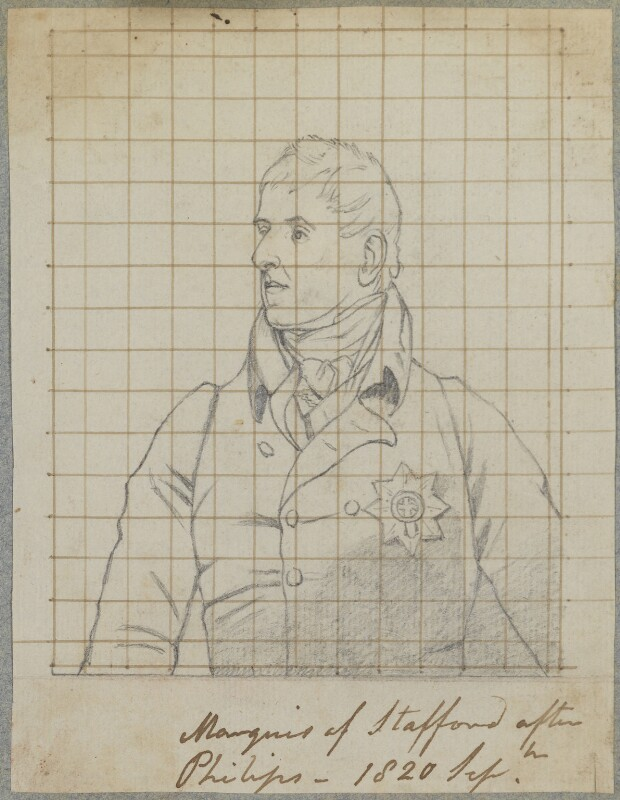 George Granville Leveson-Gower, 1st Duke of Sutherland, by Henry Bone, after  Thomas Phillips, September 1820 (1805) - NPG D17717 - © National Portrait Gallery, London