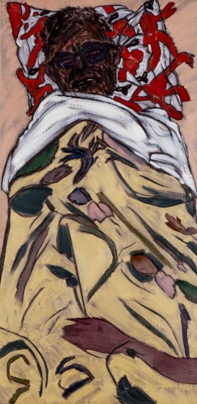 R.B. Kitaj ('Self-Portrait: Hockney Pillow'), by R.B. Kitaj, 1993-1994 - NPG 6791 - © estate of R.B. Kitaj / National Portrait Gallery, London