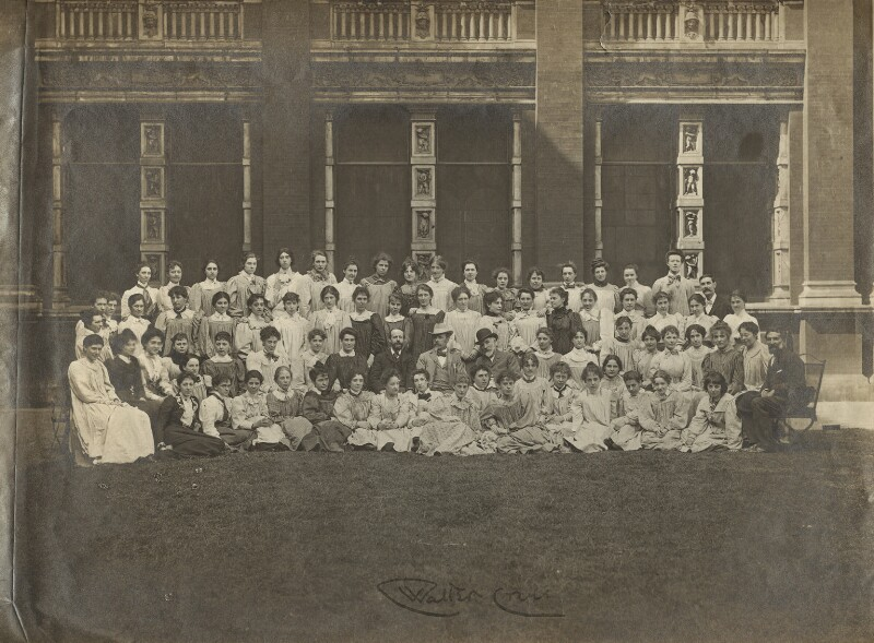 Walter Crane with students and teachers of the Royal College of Art, by Unknown photographer, circa 1910 - NPG x28069 - © National Portrait Gallery, London