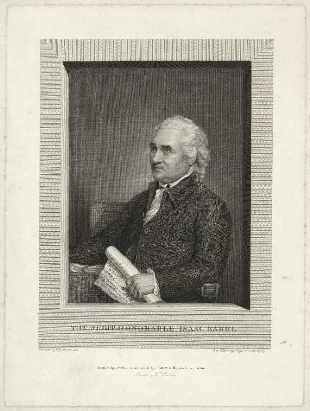 Isaac Barré, by John Hall, after  Gilbert Stuart, published 1787 (1785) - NPG D23508 - © National Portrait Gallery, London