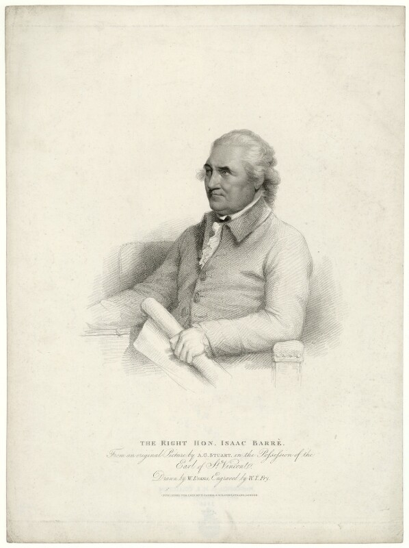 Isaac Barré, by William Thomas Fry, after  William Evans, after  Gilbert Stuart, published 1817 (1785) - NPG D23509 - © National Portrait Gallery, London