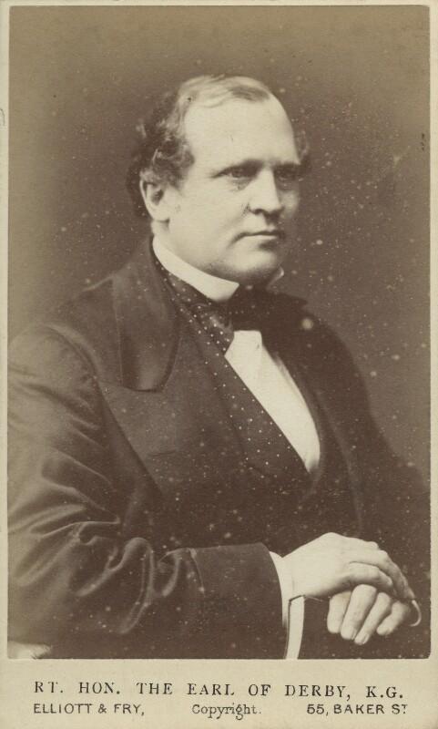 Edward Henry Stanley, 15th Earl of Derby, by Elliott & Fry, 1870? - NPG Ax46194 - © National Portrait Gallery, London