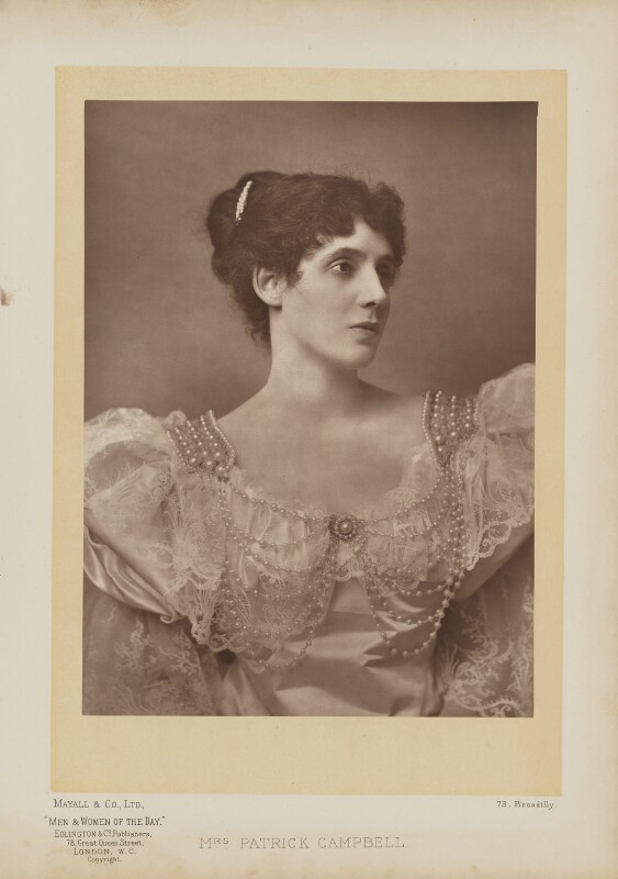 Mrs Patrick Campbell, by Mayall & Co, published by  Eglington & Co, published 1893 - NPG Ax27652 - © National Portrait Gallery, London