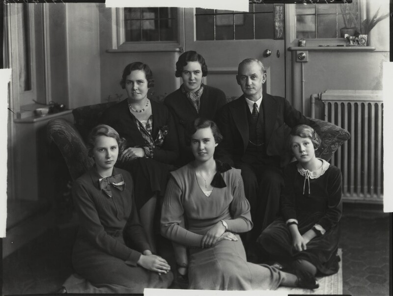 Sir Robert Charles Evans and Dorothea Grace (née Baker), Lady Evans with their daughters, by Bassano Ltd, 8 January 1935 - NPG x151265 - © National Portrait Gallery, London
