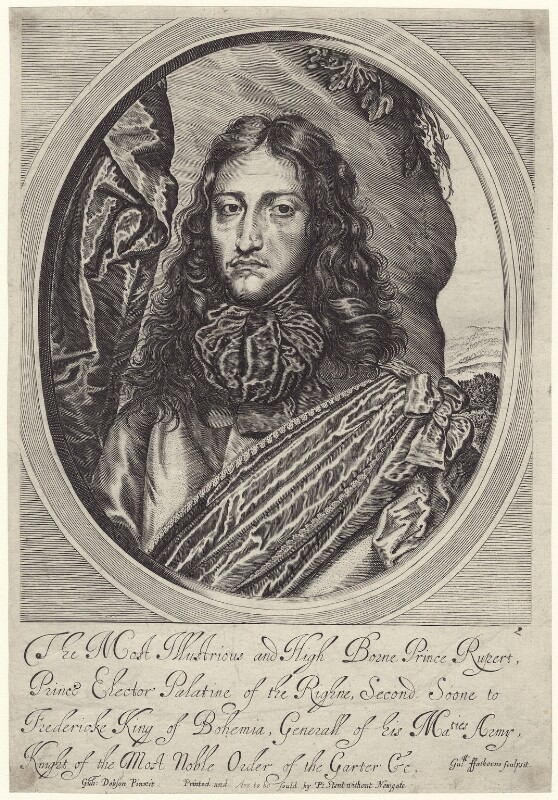 Prince Rupert, Count Palatine, by William Faithorne, published by  Peter Stent, after  William Dobson, published 1662 - NPG D22928 - © National Portrait Gallery, London