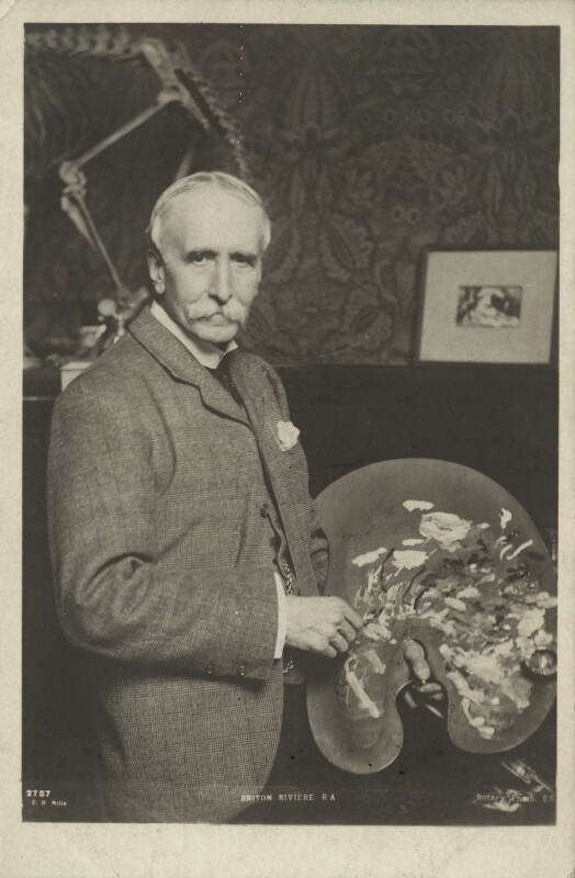 Briton Riviere, by Ernest Herbert ('E.H.') Mills, published by  Rotary Photographic Co Ltd, early 1900s - NPG x22042 - © National Portrait Gallery, London