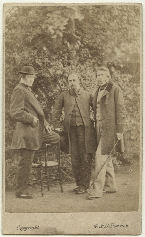 William Bell Scott; Dante Gabriel Rossetti; John Ruskin, by W. & D. Downey, 29 June 1863 - NPG x12959 - © National Portrait Gallery, London