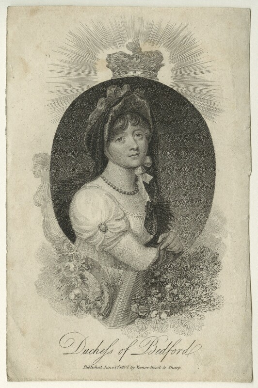 Georgiana Russell (née Gordon), Duchess of Bedford, by Mackenzie, after  William Marshall Craig, published 1807 - NPG D23517 - © National Portrait Gallery, London