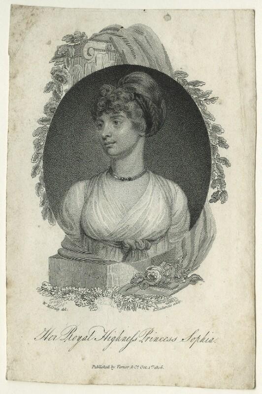 Princess Sophia, by K. Mackenzie, published by  Vernor, Hood & Sharpe, after  William Marshall Craig, published 1806 - NPG D23522 - © National Portrait Gallery, London