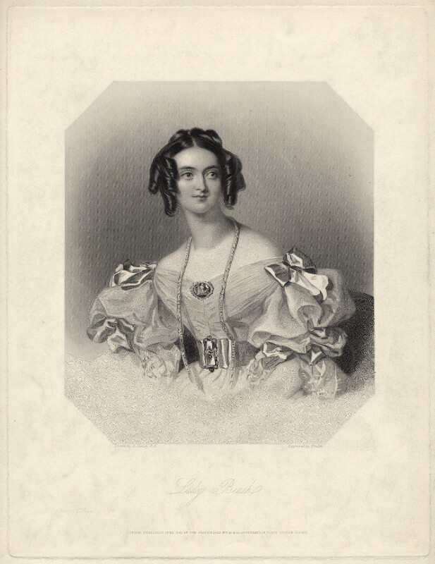 Harriet-Vittoria (née Stratton), Lady Hicks-Beach, by William Finden, or by  Edward Francis Finden, after  Alfred Edward Chalon, published 1841 - NPG D21536 - © National Portrait Gallery, London