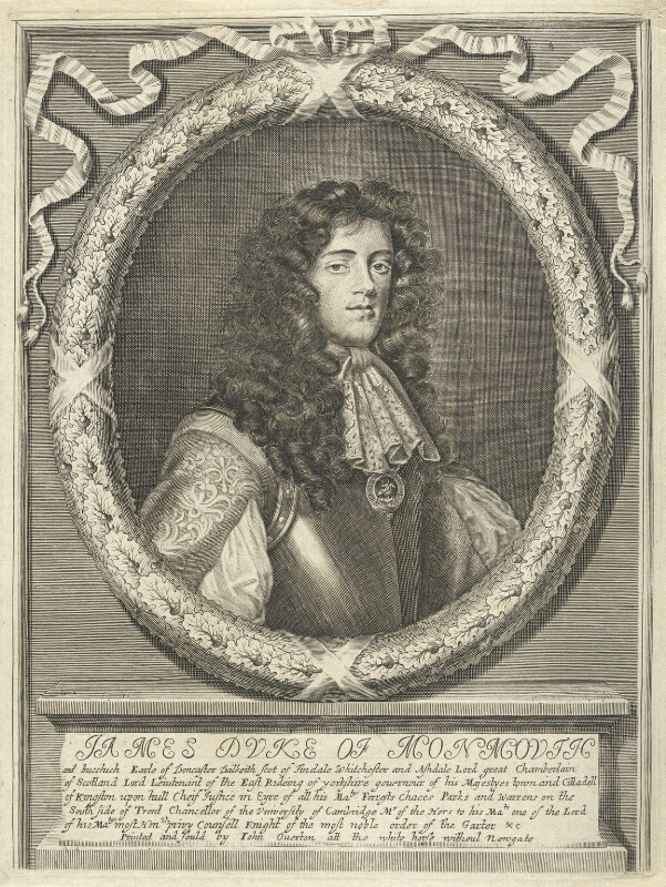 James Scott, Duke of Monmouth and Buccleuch, by William Faithorne, published by  John Overton, after  William Sheppard, circa 1674-1679 - NPG D22955 - © National Portrait Gallery, London