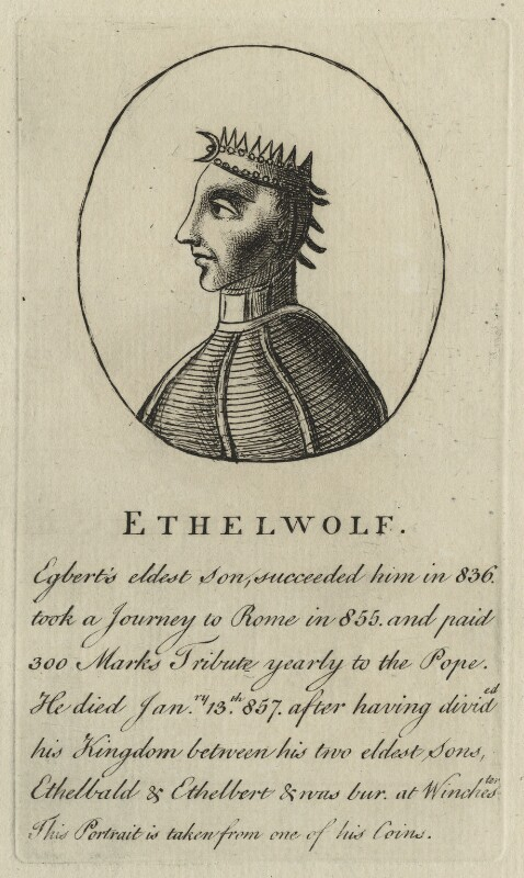Ethelwulf, King of the West Saxons, King of Wessex, after Unknown artist, 18th century - NPG D23573 - © National Portrait Gallery, London