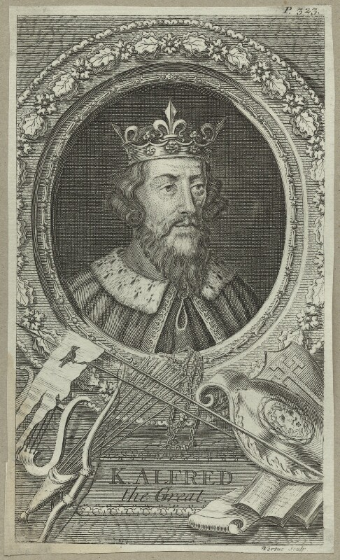 King Alfred ('The Great'), by George Vertue, mid 18th century - NPG D23582 - © National Portrait Gallery, London
