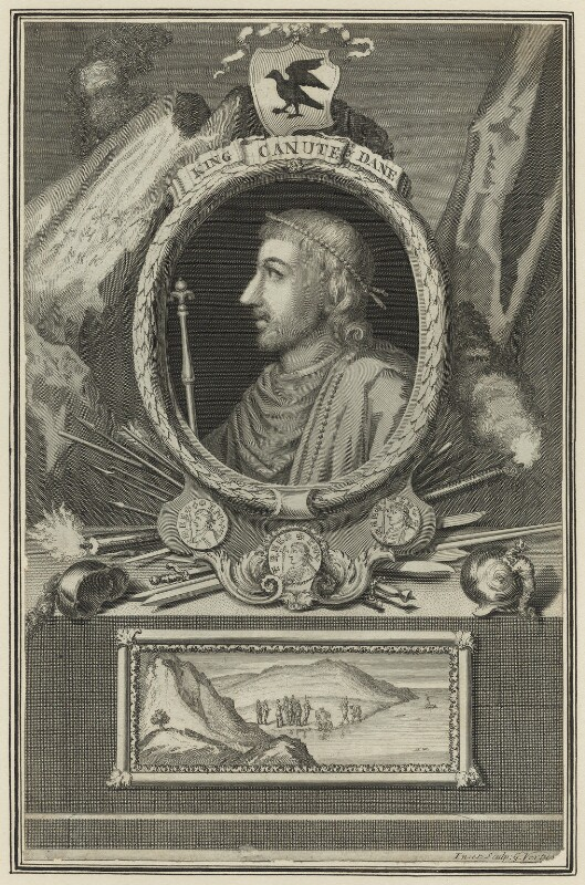 Canute, King of England, Denmark and Norway, by George Vertue, 1732 - NPG D23588 - © National Portrait Gallery, London