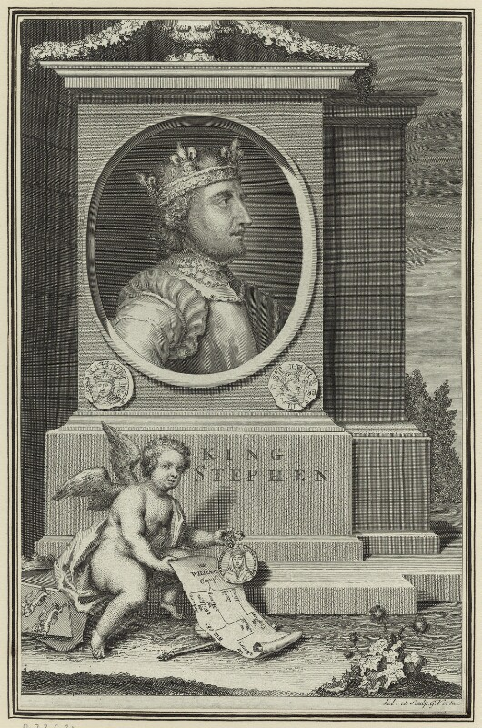 King Stephen, by George Vertue, 1732 - NPG D23621 - © National Portrait Gallery, London