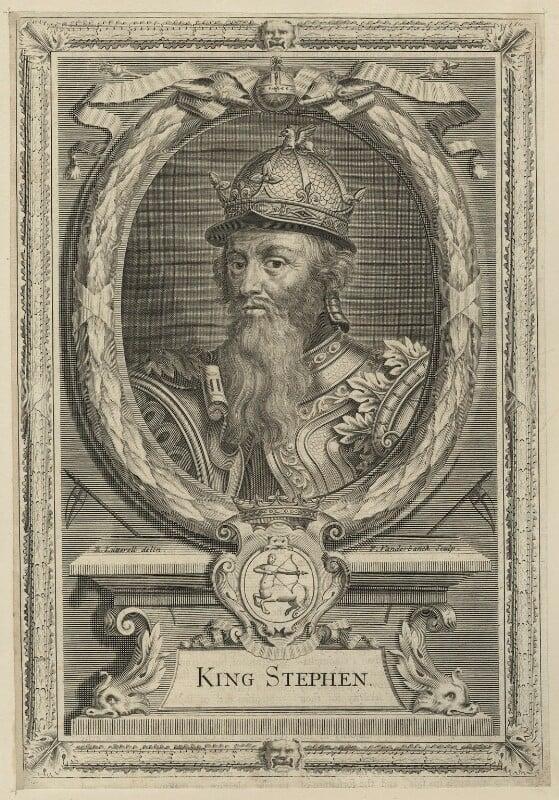 King Stephen, by Peter Vanderbank (Vandrebanc), after  Edward Lutterell (Luttrell), late 17th century - NPG D23622 - © National Portrait Gallery, London
