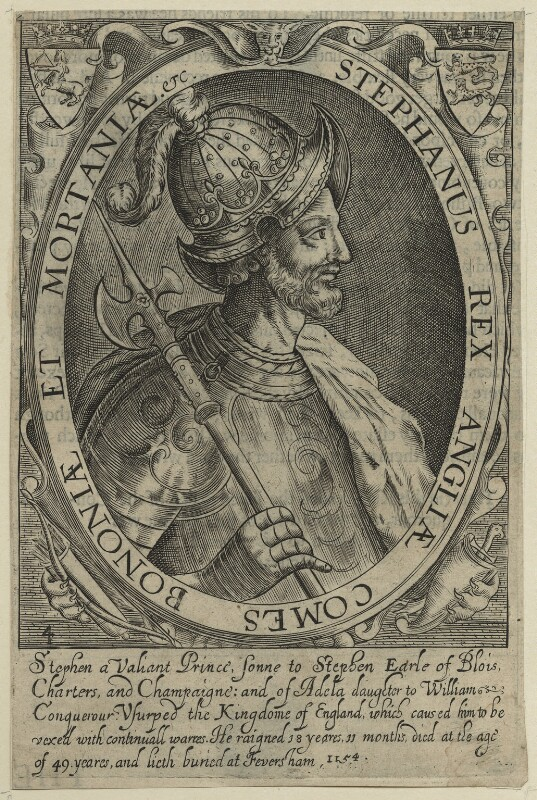 King Stephen, by Renold or Reginold Elstrack (Elstracke), 1638 - NPG D23623 - © National Portrait Gallery, London