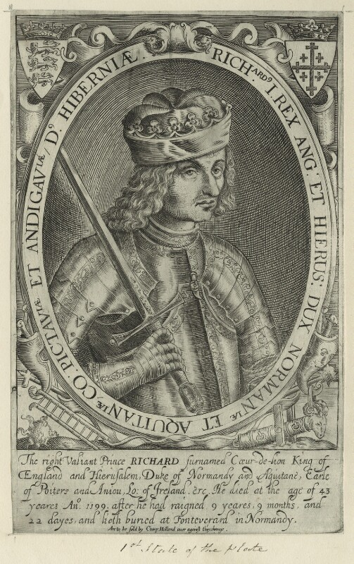 King Richard I ('the Lionheart'), possibly by Renold or Reginold Elstrack (Elstracke), early 17th century - NPG D23635 - © National Portrait Gallery, London