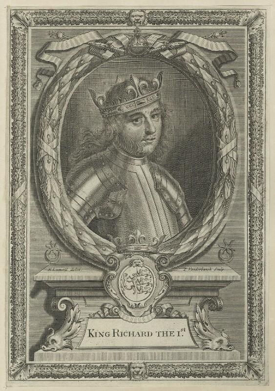 King Richard I ('the Lionheart'), by Peter Vanderbank (Vandrebanc), after  Edward Lutterell (Luttrell), 1706 - NPG D23637 - © National Portrait Gallery, London