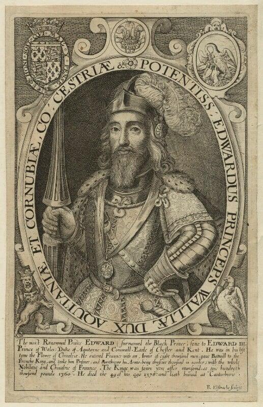 Edward, Prince of Wales ('the Black Prince'), by Renold or Reginold Elstrack (Elstracke), 1618 - NPG D23705 - © National Portrait Gallery, London