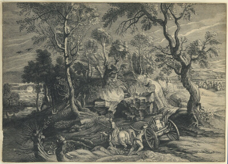 Landscape with a waggon, by William Faithorne, after  Schelte Bolswert, after  Sir Peter Paul Rubens, circa 1650s-1680s - NPG D23010 - © National Portrait Gallery, London