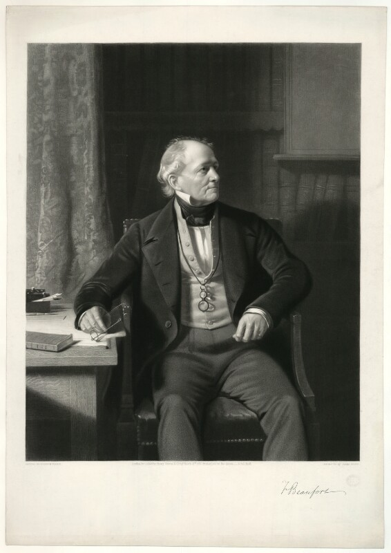 Sir Francis Beaufort, by James Scott, after  Stephen Pearce, published 1857 - NPG D31582 - © National Portrait Gallery, London
