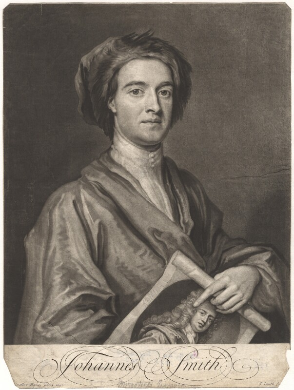 John Smith holding print by John Smith of Sir Godfrey Kneller, Bt, by John Smith, after  Sir Godfrey Kneller, Bt, 1716 (1696) - NPG D9001 - © National Portrait Gallery, London