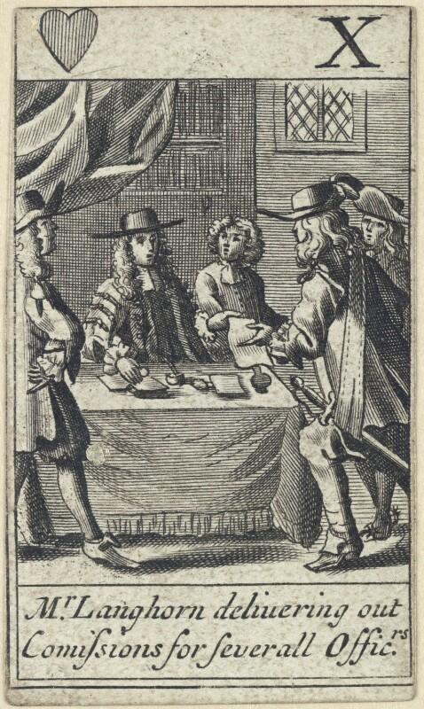 'Mr Langhorn delivering out Comissions for Severall Offic.rs' (Richard Langhorne), after Francis Barlow, 1679 - NPG D23012(d) - © National Portrait Gallery, London