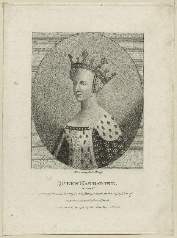 Catherine of Valois, by Silvester Harding, published by  E. & S. Harding, published 1 September 1792 - NPG D23752 - © National Portrait Gallery, London