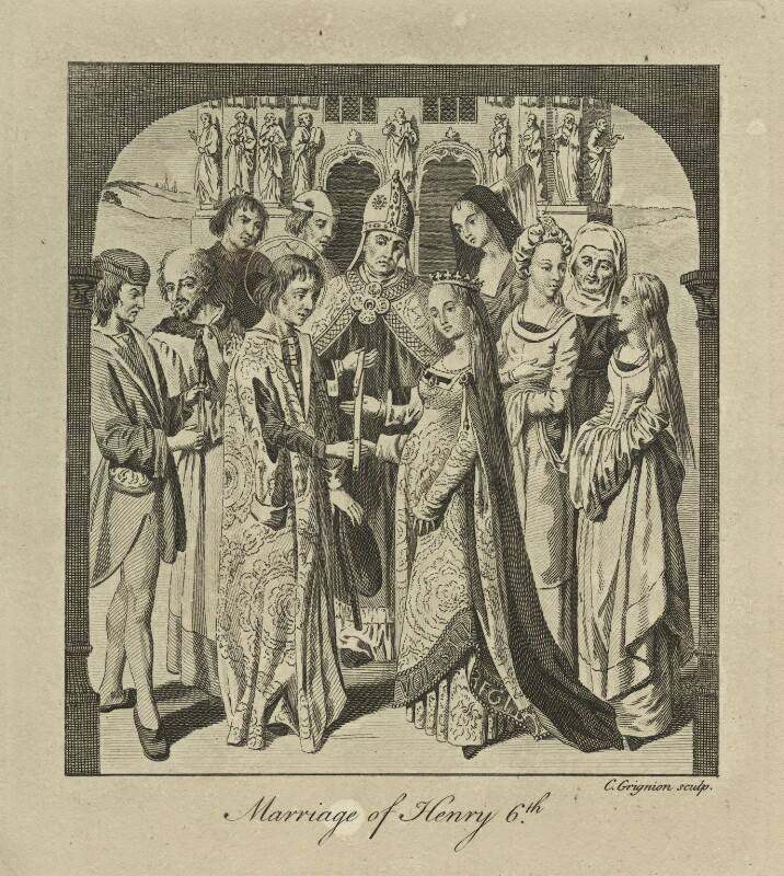 The Marriage of King Henry VI to Margaret of Anjou, by Charles Grignion, mid 18th century - NPG D23763 - © National Portrait Gallery, London
