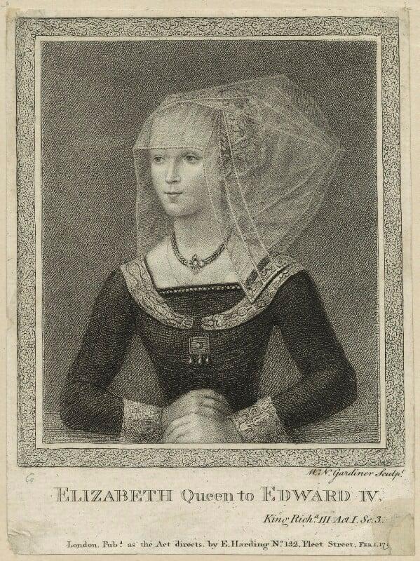 Elizabeth Woodville, by William Nelson Gardiner, published by  Edward Harding, published 1 February 1790 - NPG D23803 - © National Portrait Gallery, London