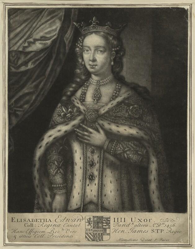 Elizabeth Woodville, by John Faber Sr, early 18th century - NPG D23805 - © National Portrait Gallery, London