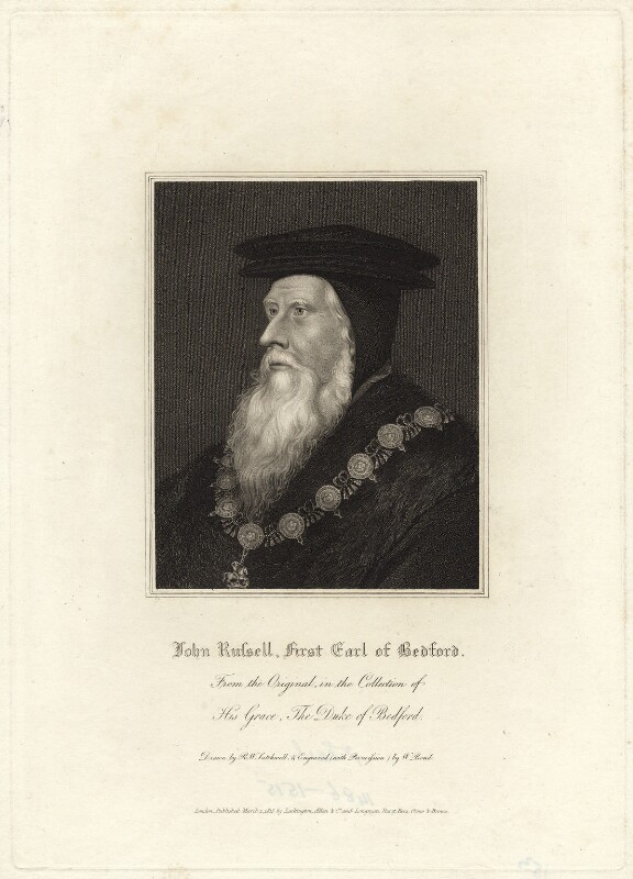 John Russell, 1st Earl of Bedford, by William Bond, published by  Lackington, Allen & Co, published by  Longman, Hurst, Rees, Orme & Brown, after  Robert William Satchwell, after  Hans Holbein the Younger, published 1 March 1815 - NPG D31608 - © National Portrait Gallery, London