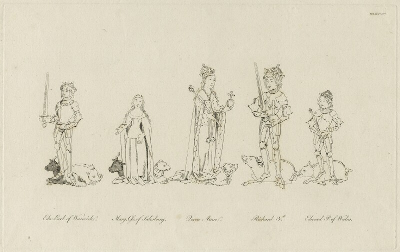 King Richard III, Queen Anne, Edward, Prince of Wales, Margaret, Countess of Salisbury and Edward, Earl of Warwick, after Unknown artist, possibly early 19th century - NPG D23814 - © National Portrait Gallery, London