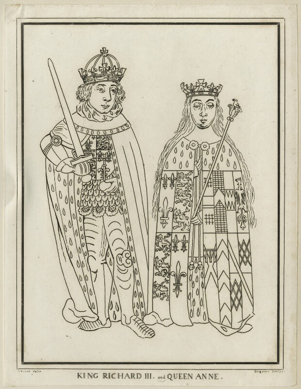 King Richard III and Anne Neville, Queen of England, by Grignion, after  George Vertue, late 18th century - NPG D23817 - © National Portrait Gallery, London