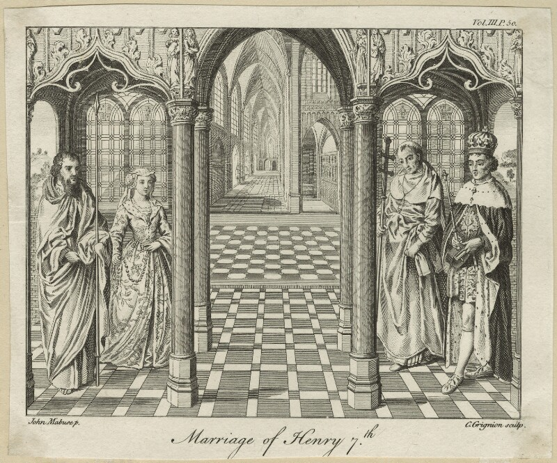Four unknown sitters engraved as 'The Marriage of King Henry VII and Elizabeth of York', by Charles Grignion, after  Jan Gossaert (Mabuse), 1762 - NPG D23845 - © National Portrait Gallery, London