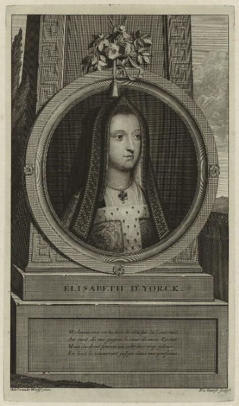 Elizabeth of York, by Pieter Stevens van Gunst, after  Adriaen van der Werff, 1697 - NPG D23851 - © National Portrait Gallery, London