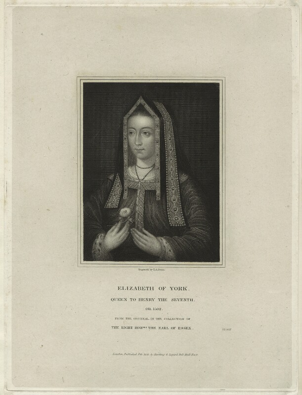 Elizabeth of York, by Thomas Anthony Dean, published by  Harding & Lepard, published 1828 - NPG D23860 - © National Portrait Gallery, London